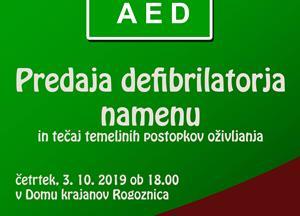 Predaja AED defibrilatorja namenu